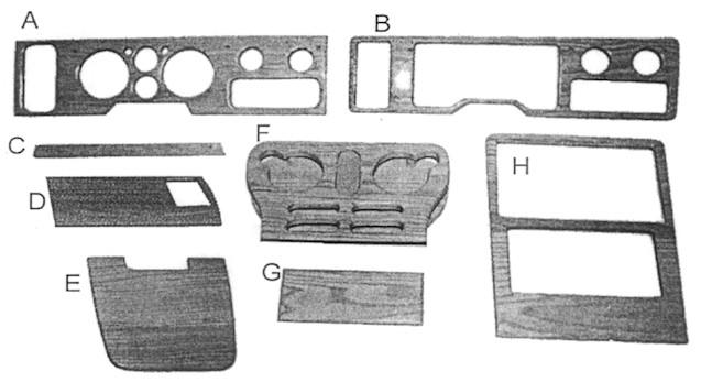 Chevy Van Instrument Cluster Oak Walnut Wood Kit